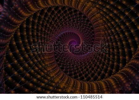 Intense orange and purple abstract spiral on black background