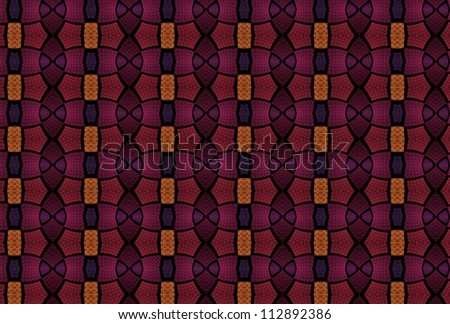 Intense orange, pink and purple abstract repeating design on black background (tile able)
