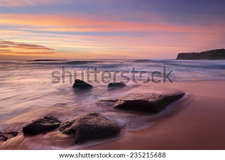 Intense summer sunrise colours at Bungan Beach and mesmerising ocean flows.   Permanent visible rips to each side and shifting rips in the centre a hazardous beach rated 7/10 (highly hazardous)