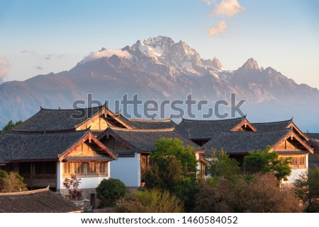 Intensive ancient buildings in the ancient city of Lijiang in the morning
