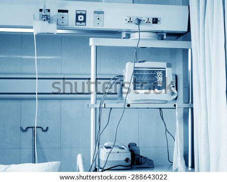 Intensive care unit with ECG monitor