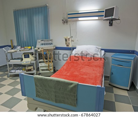 Intensive care ward in a medical center with monitoring equipment