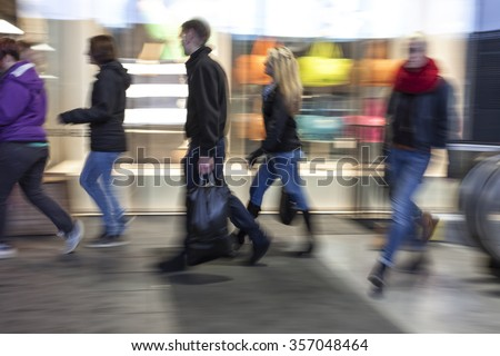 Intentional blurred image of people in shopping center   #357048464