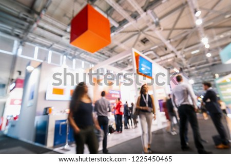 Intentionally blurred trade fair background