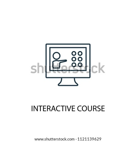 Interactive Course line icon. Simple element illustration. Interactive Course symbol design from eLearning collection. Can be used in web and mobile.