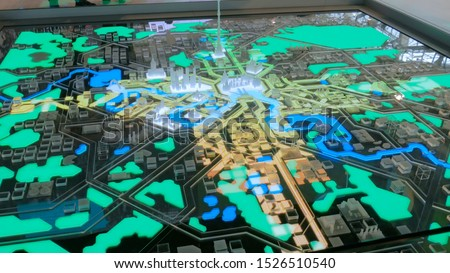 Interactive 3D city model of Moscow with dynamic illumination. Technology and urbanization concept