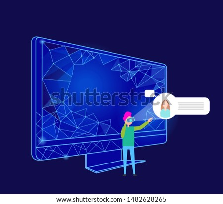 Interactive reality computer monitor with geometric shapes and person raster. Human wearing vr glasses, entertaining oneself. Cyberspace chatting