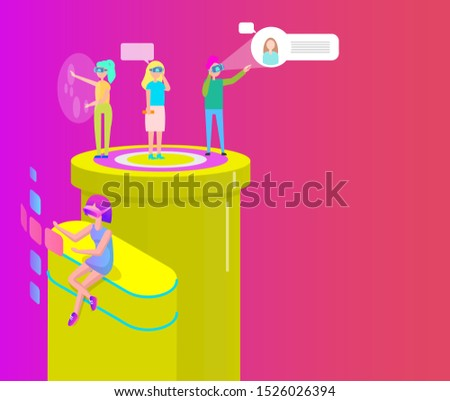 Interactive virtual reality cartoon banner raster set. Group people playing video games using digital glasses and projecting picture, 3d isometric