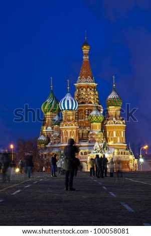 Intercession Cathedral at Red Square in winter night. Moscow, Russia