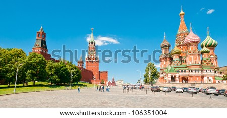 Intercession Cathedral (St. Basil's) and the Spassky Tower of Moscow Kremlin at Red Square in Moscow, Russia