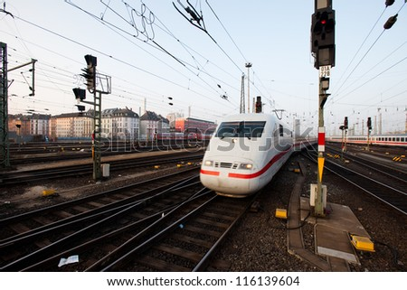 InterCity Express train pulling into Frankfurt station