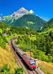 Intercity train climbs up the Gotthard railway. The traffic will be diverted to the Gotthard Base Tunnel in December 2016.