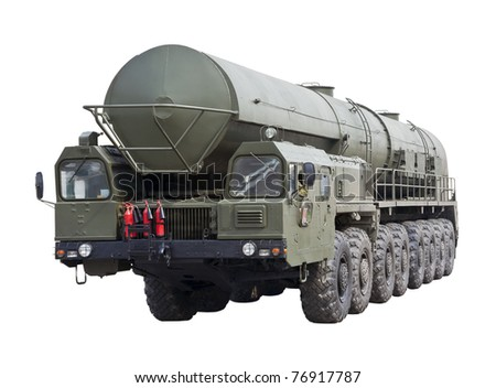 intercontinental ballistic missile Topol-M is isolated on a white background