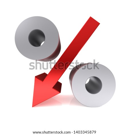interest rate falling down arrow percent percentage sign symbol icon 3d render graphic isolated on white background