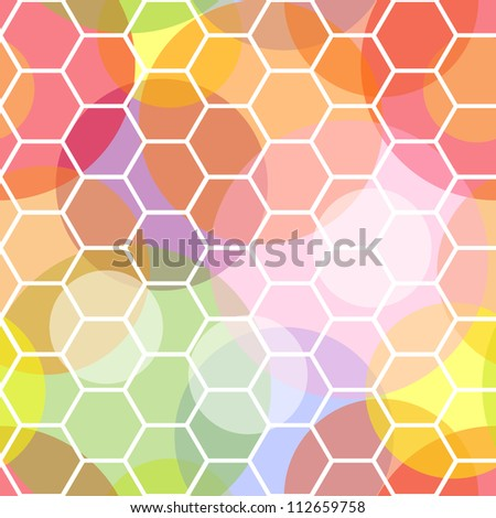 Interesting and dynamic colorful seamless pattern made of transparent dots overlaid with a white honeycomb pattern on top.