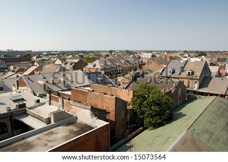 interesting architecture seen in the rooftops of the New Orleans French Quarter