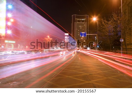 Interesting blurred image of night traffic in a big city.Location:Bucharest,Romania.