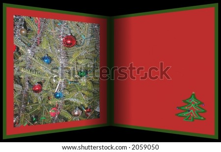 Interesting Christmas template simulation of folded greeting card .