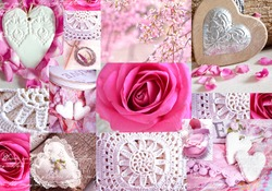 Interesting collage with knitted elements, flower arrangements, hearts and roses. Can use for print on cover, wrapping paper, napkins, place mate, tablecloth.