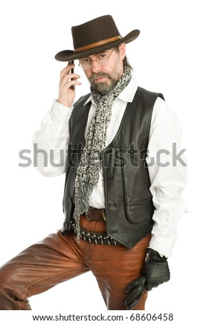 Interesting man in the suit retro-style talking on a mobile phone