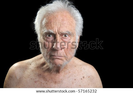 Interesting Portrait of an angry senior Man
