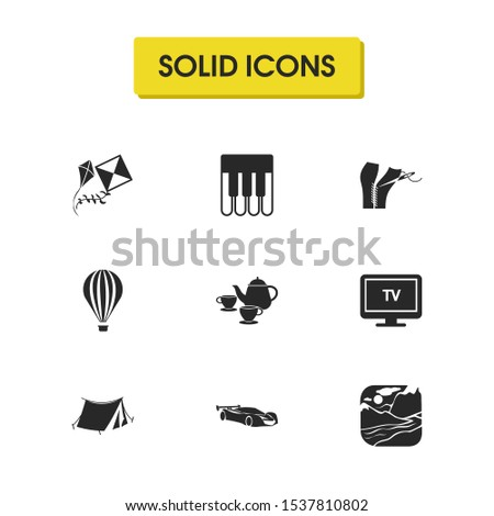 Interests icons set with kites, hot air balloon and nature elements. Set of interests icons and television concept. Editable elements for logo app UI design.
