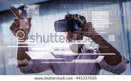 interface against businessman using an oculus