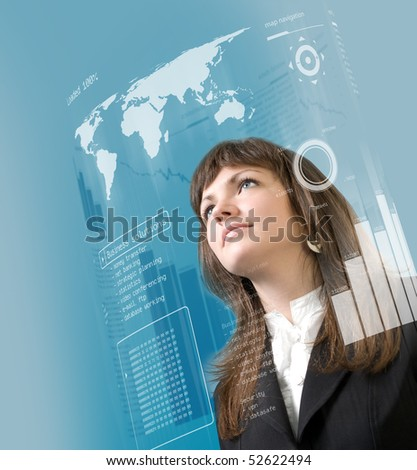 Interface collection - Brunette standing in virtual reality - stock photo