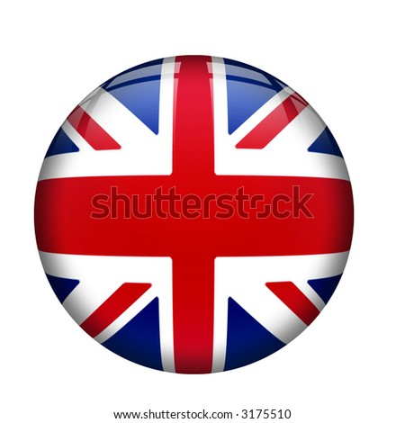 Interface orb button with united kingdom Flag, UK