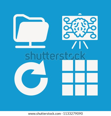 Interface related set of 4 icons such as brainstorm, grid, redo