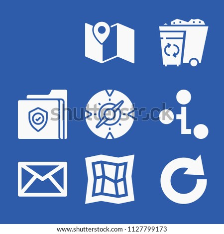 Interface related set of 9 icons such as email envelope button, rss feed, map, compass, hierarchy, redo, folder