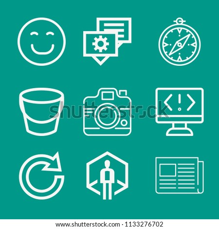 Interface related set of 9 icons such as folded newspaper, happy, virtual reality, compass, redo, camera, bucket, coding