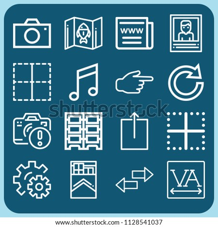 Interface related set of 16 icons such as gear, web news, upload arrow, spacing, border, pointing right, map, redo, cigarettes, picture, data center, music, camera, transfer