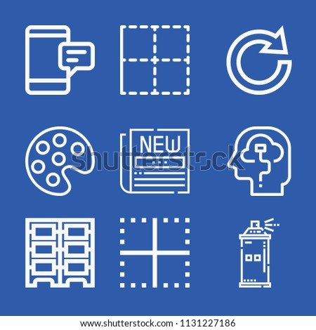 Interface related set of 9 icons such as intelligence, sms, newspaper, border, redo, data center, palette