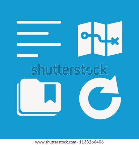 Interface related set of 4 icons such as map, left align, redo