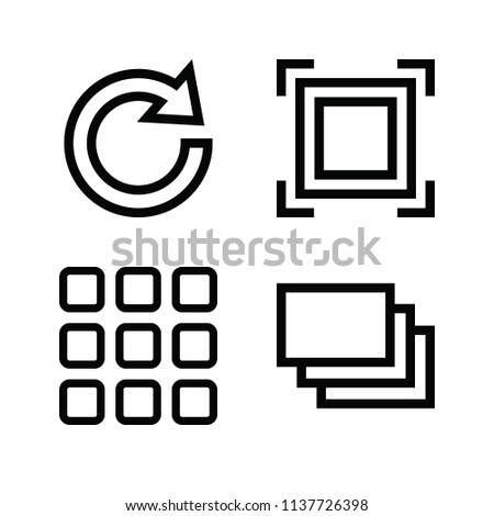 Interface related set of 4 icons such as menu, focus, redo