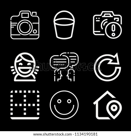 Interface related set of 9 icons such as message, smiley, homepage, bottom, redo, camera, shield, bucket