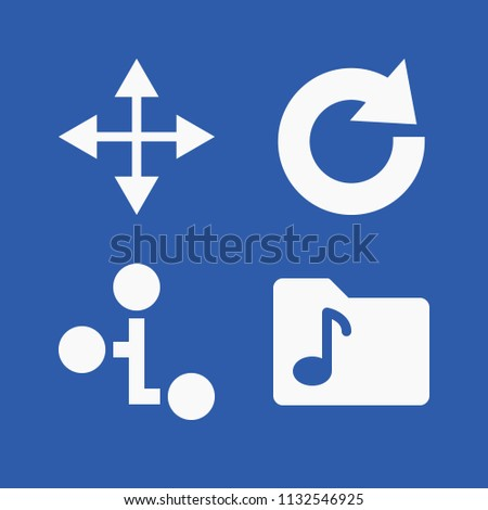 Interface related set of 4 icons such as move, hierarchy, redo