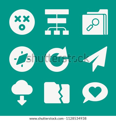Interface related set of 9 icons such as paper plane, compass, shocked, diagram, redo, folder, download