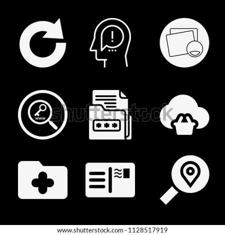 Interface related set of 9 icons such as postcard, picture editor with emots, keyword research interface symbol, search, think, redo, folder