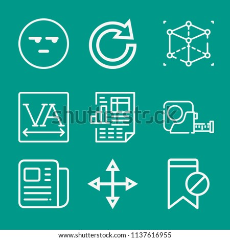 Interface related set of 9 icons such as report, newspaper, smile, cube, spacing, move, redo, tape