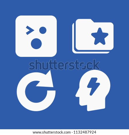 Interface related set of 4 icons such as shocked, brainstorm, redo