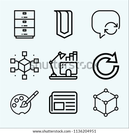 Interface related set of 9 icons such as speech bubble, cabinet, newspaper, cube, computer, redo, palette