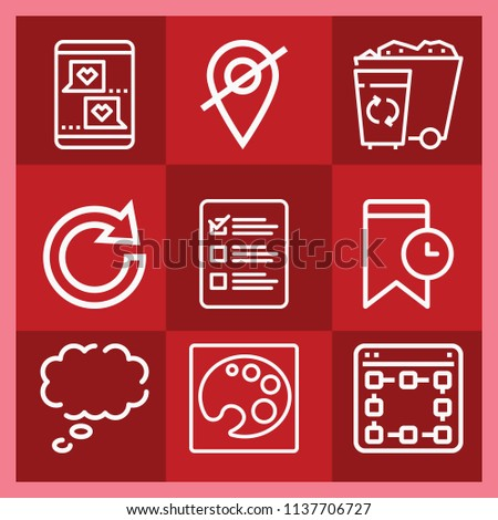 Interface related set of 9 icons such as speech bubble, list, digital, placeholder, redo, paint palette, message, bookmark
