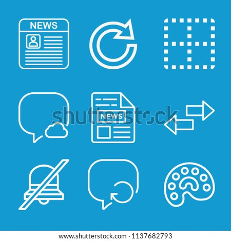 Interface related set of 9 icons such as speech bubble, newspaper, clear, redo, palette, transfer