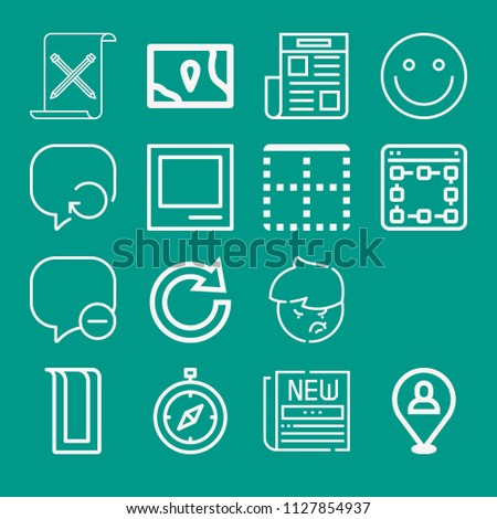 Interface related set of 16 icons such as speech bubble, newspaper, smiley, compass, top, digital, placeholder, map, redo, article, polaroid, angry