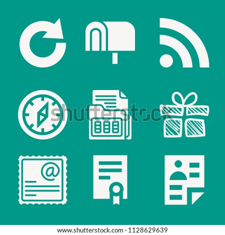 Interface related set of 9 icons such as stamp, curriculum vitae, rss feed, birthday giftbox sketch, compass, agreement, mailbox, redo