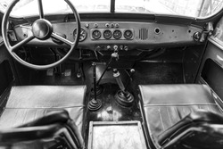 interior and dashboard with an old Russian jeep
