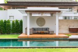 Interior and exterior design of pool villa with swimming pool ,  home, house , building , hotel, resort ,living room