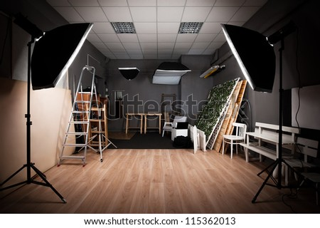 Interior And The Equipment Of A Photographic Studio Ready For Realization Of Photosession